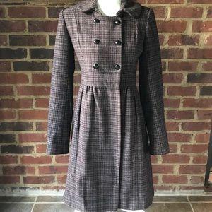 TOPSHOP Brown Plaid Wool Coat Size 8